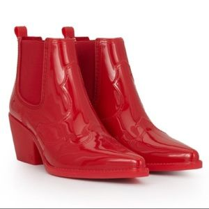 NIB Sam Edelman Red Winona Rubber Ankle Boots West